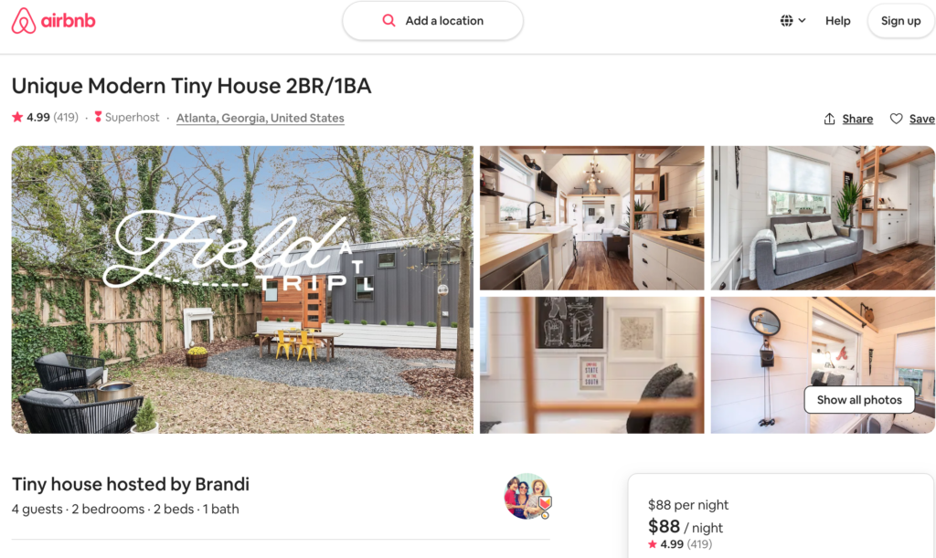 Tiny homes airbnb
