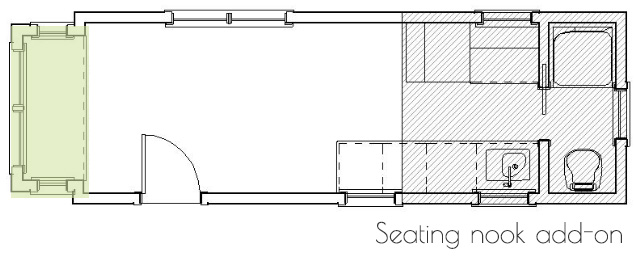 tiny house floorplan with additional sitting nook