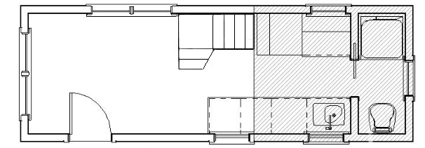 Small house with storage stairs